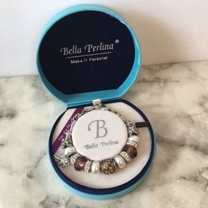 Bella Perlina Pearl & Brown palm tree bracelet
